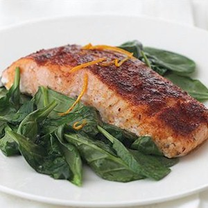 a healthy meal of spinach and salmon