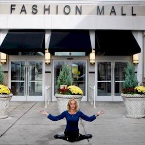 posing yoga at the mall